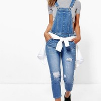 Petite Emily Mid Blue Distressed 3/4 Dungaree | Boohoo