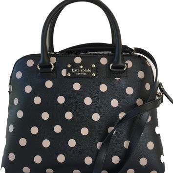 Kate Spade New York Wellesley Printed Small Rachelle Satchel Handbag Purse (Black/Decobeige)