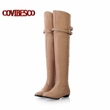 High quality New over the knee high boots for women motorcycle boots Flats long boots low heel pu leather shoes big size 34-43