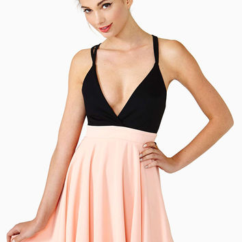 Black And Pink V-Neck Criss Cross Chiffon Dress