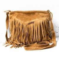V-Fringe brown purse