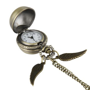 Cindiry Women Antique Black Wing Golden Gold Snitch Ball Retro Quartz Pocket Watch Fob Necklace Arabic Number Hour P25