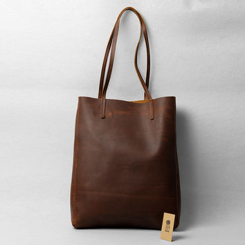 SimpleWind-Women's Retro Handmade Full Grain Leather Shoulder Carryall Tote/Handbag Small Size