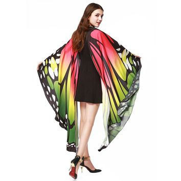 Women Butterfly Wings Shawl Scarves Ladies Nymph Pixie Poncho Costume Accessory Fairy Scarf Soft !