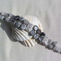 "Gemstone Crystal Bracelet - Zebra Jasper & Rutilated Quartz ""Marais"""