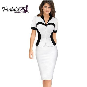 Spring 2016 Patchwork Women Fake Two Piece Ourfits Elegant Business Party White Tunic Peplum Bodycon Formal Work Office Dress