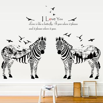 large size Modern simple style Black White Zebras Wall Stickers Fashion Home Bedroom Animal Decor Art Mural Wallpaper
