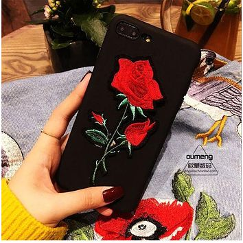 Fashion big rose phone case iPhone black