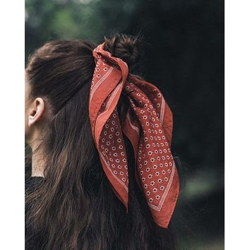 Moon Flower Bandanna in Rust