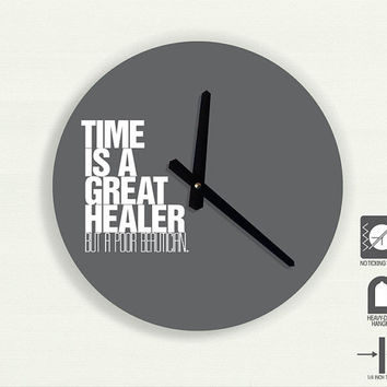 "Time Quote Typography wall clock - Time is a great healer, But a poor beautician by Lucille S. Harper 11"" Diameter - No Ticking Sound"