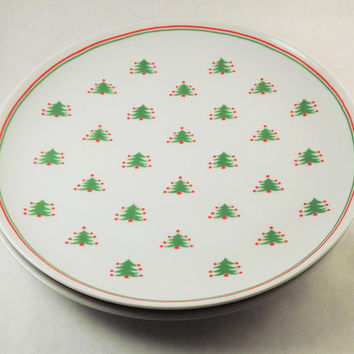 Christmas Plates, Set of 4 Christmas Tree Plates, Glass Dinner Plates, Vintage Christmas Plate, Festive Christmas Plates, 8 plates available