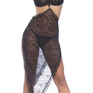 Sexy Metallic Lace Maxi Skirt with Removable Choker and G-String