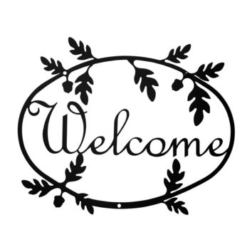 Wrought Iron Medium Acorn Welcome Home Sign Medium