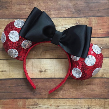 Red sequin polka dot mouse ears minnie inspired worh black bow