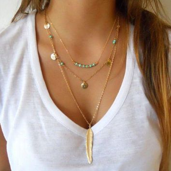 ONETOW Fashion simple turquoise beads sequins leaf feathers multi - storey necklaces