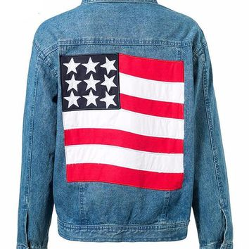 USA American Flag Denim Jacket