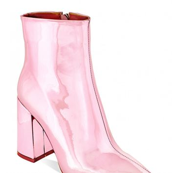 Hallucinations Metallic Block Heeled Ankle Boots In Pink PU