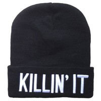 Winter Warm Knit Killin It Black Beanie Hat for Men and Women Winter Cap Skully