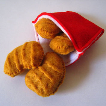 Felt food Chicken nuggets set eco friendly childrens pretend play food for toy kitchen