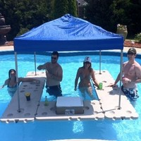 5 Piece Bar Assembly with Canopy Mounts, Storage Bag, 33 Quart Cooler, and blue 6x6 pop up canopy