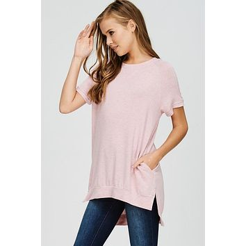 Crew Neck High Low Top - Blush