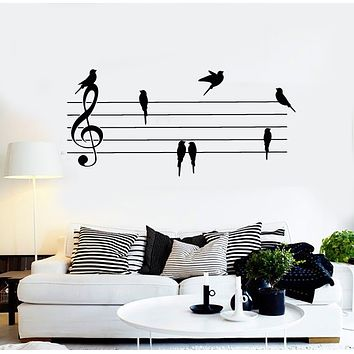 Vinyl Wall Decal Music Notes Paper Musical Keys Birds Home Decor Stickers Mural (g2789)