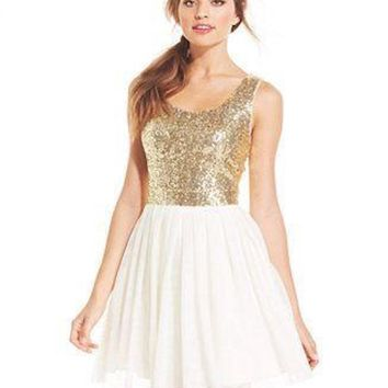 B.Darlin Young Women White Gold Sequined Pleated A-Line Dress 7/8