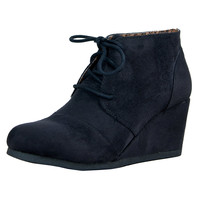 Rex Lace Up Round Toe Ankle Wedge Booties