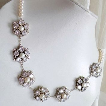 Bridal Necklace Ivory Pearl CZ Sterling Silver Brooch Necklace - Greta N2 Wedding Jewelry Pearl Jewelry