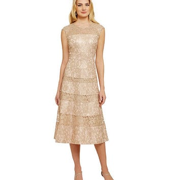 Kay Unger Tea-Length Lace Dress | Dillards