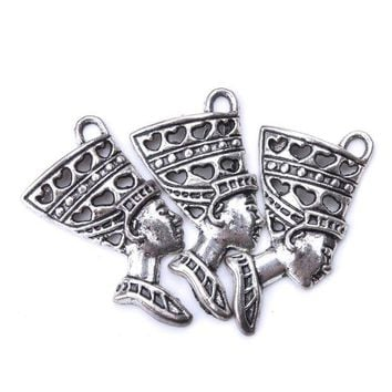 ac spbest 10pc/lot 40mm x 20mm Egyptian Goddess Charms Antique Silver Tone Beautifil Classic Design charms for jewelry making