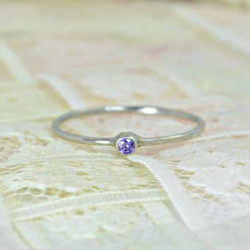 Tiny Solid 14k White Gold Amethyst Wedding Ring Set