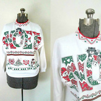 Vintage Christmas Cat Noel Sweatshirt / Holiday Ugly Sweater