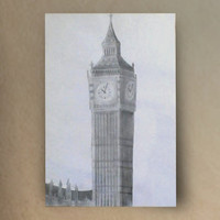 Big Ben Drawing Elizabeth Tower Clock Westminster London England pencil art Black and white framed original Europe gothic folk edwardian