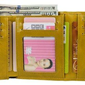 YALUXE Womens Compact Small Leather Trifold Wallet with Zipper PocketGift Box