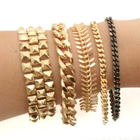 Arm Candy - Gold Chunky chain bracelet - 24k Gold Plated