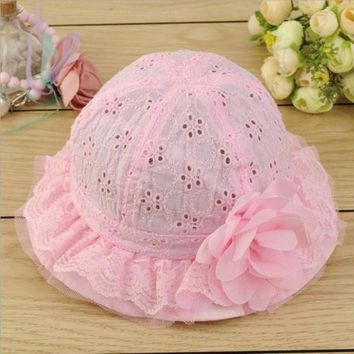 ONETOW Kids Baby Newborn Sun Cap Outdoor Lace Floral Summer Beach Bucket Flower Hat