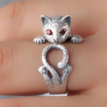 Cute 925 Silver Leopard Cat Ring + Gift Box