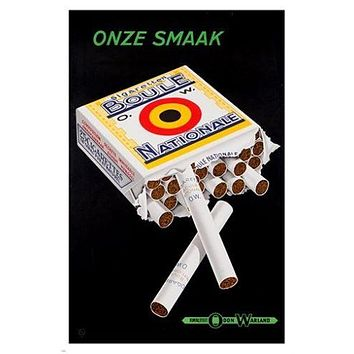 ONZE SMAAK national cigarette VINTAGE ad poster SMOKING tobacco 24X36 RARE