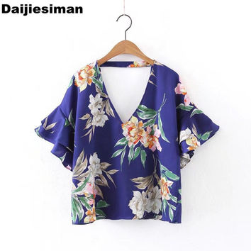 Loose summer women sexy front back deep v neck floral print ruffles sleeve t shirt ladies casual t-shirts tee tops streetwear