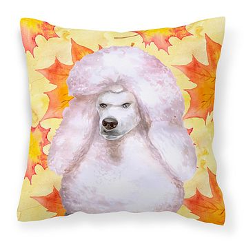 White Standard Poodle Fall Fabric Decorative Pillow BB9978PW1414