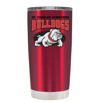 St Charles Borromeo Catholic School Bulldog on Translucent Red 20oz Tumbler