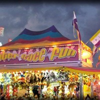 Giclee Photo Print - Fair Game Booth at Night Bright Colors and Lights