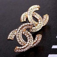 8DESS Chanel Women Diamonds Stud Earring Jewelry