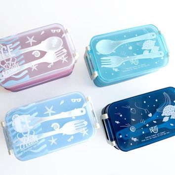 Japanese Plastic Sushi Lunch Bento Box Microwavable LunchBox Children Bento Box Set For Office School Home With Fork Suit
