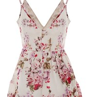 Women Floral Chiffon Bodycon Jumpsuit Party Playsuit