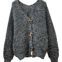 Grey V Neckline Long Batwing Sleeves Cardigan = 1920284676