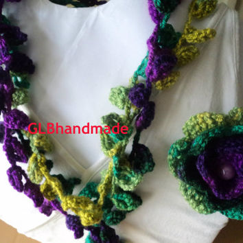 Hand crochet Lariat- yarn statement necklace scarf-multicolor leaves necklace