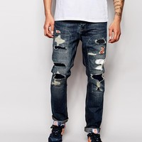 ASOS Slim Jeans With Check Rip and Repair