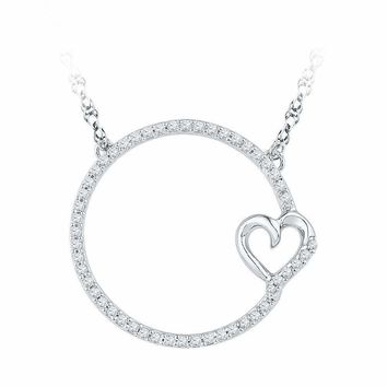 10kt White Gold Women's Round Diamond Circle Heart Pendant Necklace 1-5 Cttw - FREE Shipping (US/CAN)